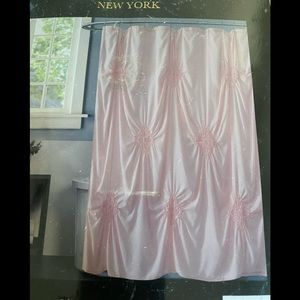 Christian Siriano Rouched Blush Shower Curtain